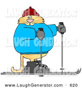 Humorous Clip Art of a Human-like Orange Cat Cross-country Skiing to the Right by Djart
