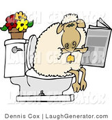Humorous Clip Art of a Human-Like Sheep Going Poop in a Human Toilet and Is Reading a Newspaper by Djart