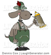May 18th, 2012: Humorous Clip Art of a Humorous Anthropomorphic Brown Dog Holding a Beer Stein While Celebrating Oktoberfest in Germany by Djart