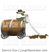 Humorous Clip Art of a Humorous German Man Guiding a Group of Brown Weiner Dogs Pulling an Oversized Wooden Beer Keg Wagon - Oktoberfest by Djart