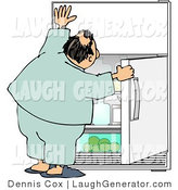 Humorous Clip Art of a Humorous Obese Man Peeking in the Fridge for Something to Eat by Djart