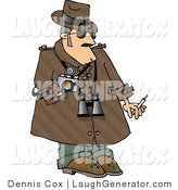 Humorous Clip Art of a Humorous Private Eye Detective in a Trenchcoat by Djart