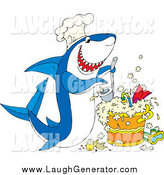 Humorous Clip Art of a Hungry Chef Shark, Cooking up a Pot of Scuba Stew by Alex Bannykh