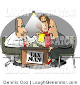 Humorous Clip Art of a Husband and Wife Getting Taxes Done by Their Professional Accountant - the Tax Man by Djart