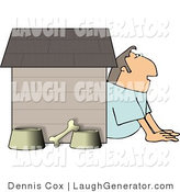 Humorous Clip Art of a Husband in Trouble with His Wife, Sitting Outside of a Doghouse with a Bone and Two Food and Water Bowls by Djart