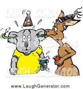 Humorous Clip Art of a Kangaroo Blowing a Toy Through a Koala's Ears at a Party by Dennis Holmes Designs