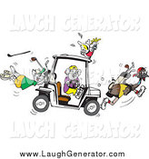 Humorous Clip Art of a Koala Driving a Golf Cart, Creating Chaos with His Cockatoo, Kangaroo and Emu Friends by Dennis Holmes Designs