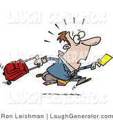 Humorous Clip Art of a Late Traveler Man Sprinting and Pulling His Luggage at the Airport by Toonaday