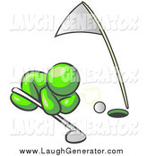 Humorous Clip Art of a Lime Green Man Trying to Blow a Golf Ball into the Hole by Leo Blanchette