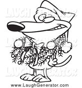 Humorous Clip Art of a Lineart Dog Wearing a Christmas Wreath by Toonaday