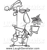 Humorous Clip Art of a Lineart Grumpy Employee Holding a Poinsettia Christmas Bonus by Toonaday
