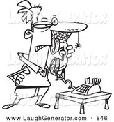 Humorous Clip Art of a Lineart Man Waiting on Hold with Cobwebs on His Face by Ron Leishman