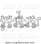 May 16th, 2015: Humorous Clip Art of a Lineart of No Evil Cats by Toonaday