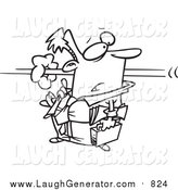 Humorous Clip Art of a Lineart Person Flying by a Businessman by Toonaday