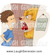 Humorous Clip Art of a Lion Roaring at a Boy in a Doorway by BNP Design Studio