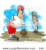 Humorous Clip Art of a Little League Baseball Pitcher and Batter out on the Field by Djart