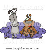 Humorous Clip Art of a Llama and Bear Odd Couple Seated with Confused Expressions on a Purple Couch, the Bear Holding a Red Flower by Toonaday