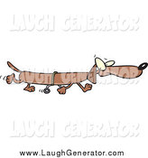 Humorous Clip Art of a Long Wiener Dog Using Training Wheels by Toonaday