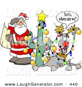 Humorous Clip Art of a Lost and Confused Santa Claus Holding an Open Map Beside Rudolph by Djart