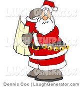Humorous Clip Art of a Lost Santa Claus Holding a Map and Looking for Directions on Christmas Eve by Djart