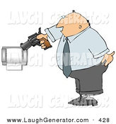Humorous Clip Art of a Mad Caucasian Man Pointing a Gun at Toilet Paper Roll by Djart