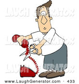 Humorous Clip Art of a Mad White Man Cutting the Phone Cord by Djart