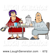 June 28th, 2013: Humorous Clip Art of a Mad White Woman, a Wife, with Her Hair up in Curlers, Holding a Frying Pan with Two Eggs in It and Flipping off Her Husband by Djart