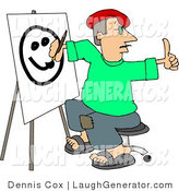 Humorous Clip Art of a Male Artist Giving a Thumbs up and Drawing a Smiley Face on Canvas with a Paintbrush by Djart