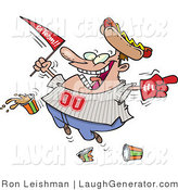 Humorous Clip Art of a Male Baseball Fan with a Hot Dog Hat, Flag, Foam Hand and Drinks by Toonaday