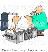 Humorous Clip Art of a Male Doctor Giving Patient a Rectal Prostate Examination - Humorous Medical Clipart by Djart