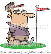 Humorous Clip Art of a Male Golfer Man Standing by a Golf Ball on Top of a Red Flag by Toonaday