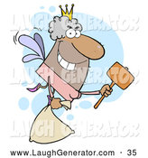 Humorous Clip Art of a Male Hispanic Tooth Fairy with a Bag and Mallet by Hit Toon