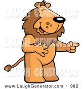 Humorous Clip Art of a Male Lion Laughing and Pointing by Cory Thoman