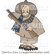Humorous Clip Art of a Male Mexican Bandit Carrying a Loaded Shotgun and Grinning by Djart