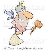 Humorous Clip Art of a Male Tooth Fairy Flying with a Bag and Mallet, Ready to Knock out Some Teeth by Hit Toon