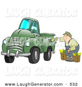 Humorous Clip Art of a Man Crouching While Putting Multiple Ears of Corn into a Green Corn Powered Biodiesel Truck by Djart