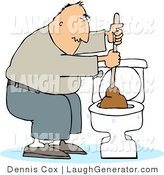 Humorous Clip Art of a Man Plunging an Overflowing Toilet by Djart