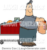 Humorous Clip Art of a Man Shopping for Underwear in the Supermarket by Djart
