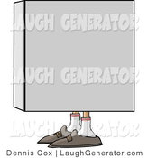 Humorous Clip Art of a Man's Shoes Poking out from a Cardboard Box As He Tries to Hide by Djart