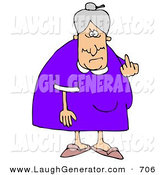 June 4th, 2013: Humorous Clip Art of a Mean Old Caucasian Lady with Gray Hair Flipping off the Viewer, on a White Background by Djart