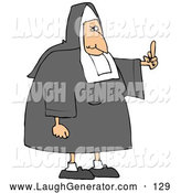 September 17th, 2013: Humorous Clip Art of a Mean White Lady Nun in Uniform, Flipping Someone off for Making Fun of Her by Djart
