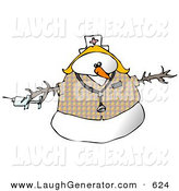 Humorous Clip Art of a Medical Nurse Snow Woman Wearing a Stethoscope over White by Djart