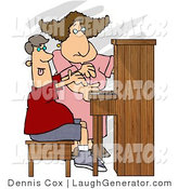 Humorous Clip Art of a Middle Aged Female Piano Teacher Trying to Teach a Teenage Boy How to Play a Standard Piano by Djart