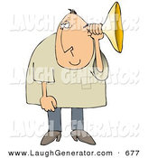 Humorous Clip Art of a Middle Aged White Man Holding an Ear Horn or Ear Trumpet to His Ear to Amplify His Hearing by Djart