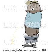 Humorous Clip Art of a Mischievious Black Boy Baring His Rear End While Urinating in Public and Looking Back at the Viewer by Djart