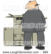 August 17th, 2013: Humorous Clip Art of a Mischievious White Businessman Urinating on a Copier Machine in an Office and Looking Back over His Shoulder by Djart
