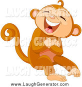 Humorous Clip Art of a Monkey Laughing by Pushkin