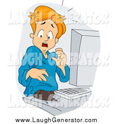 September 6th, 2014: Humorous Clip Art of a Mouse on a Computer Desk, Scaring a Red Haired Man by BNP Design Studio