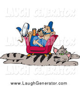 Humorous Clip Art of a Mouse Relaxing in a Chair over a Cat Rug by Dennis Holmes Designs