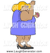 Humorous Clip Art of a Muscular Blond Body Builder Woman Flexing by Djart